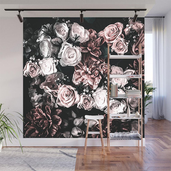 Floral Wallpaperdark Floral Wallpaperremovable Etsy In 2020 Wallpaper Accent Wall Floral Wallpaper Wall Murals