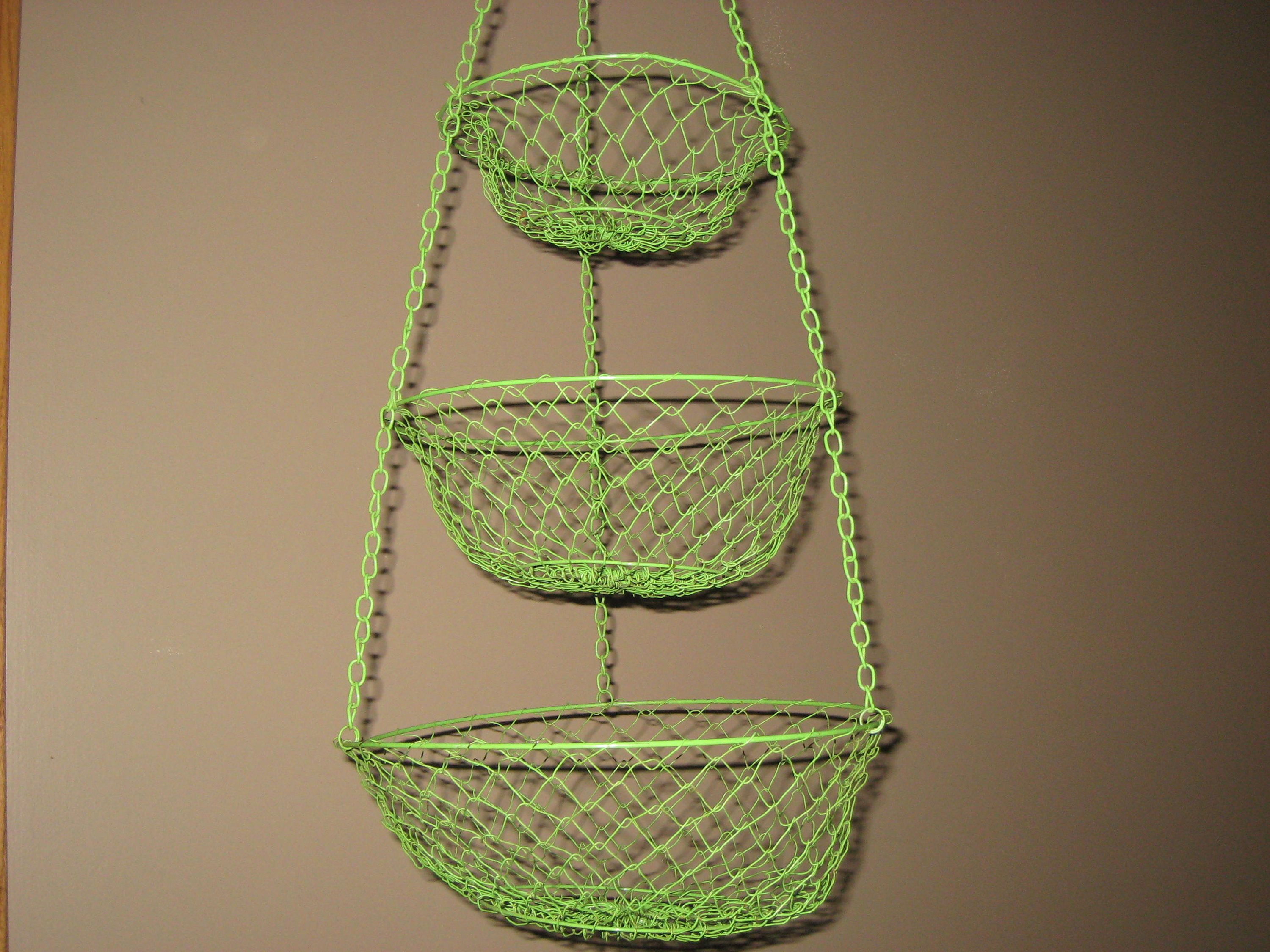 Hanging Wire Basket/3 Tier Hanging Wire Fruit Vegetable Basket/Lime Green  Metal Basket
