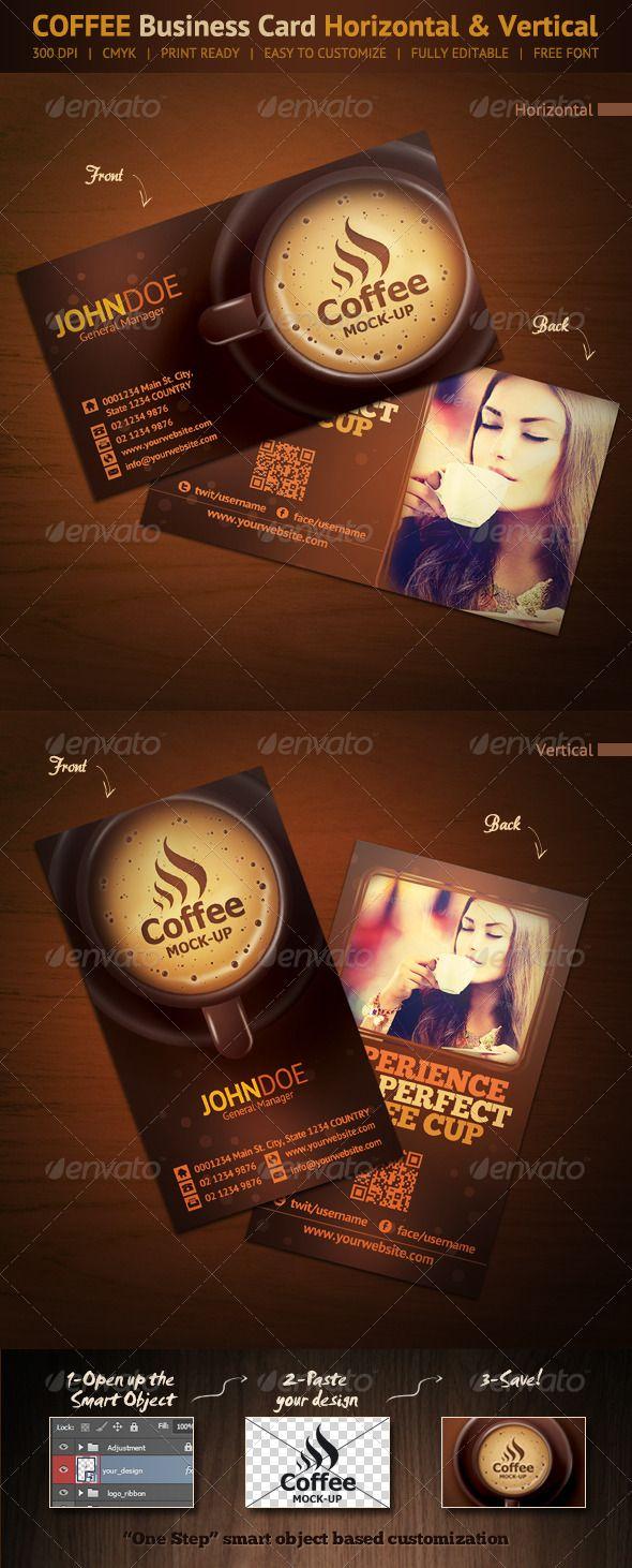 Coffee Business Card Horizontal Vertical Creative Coffee Shop