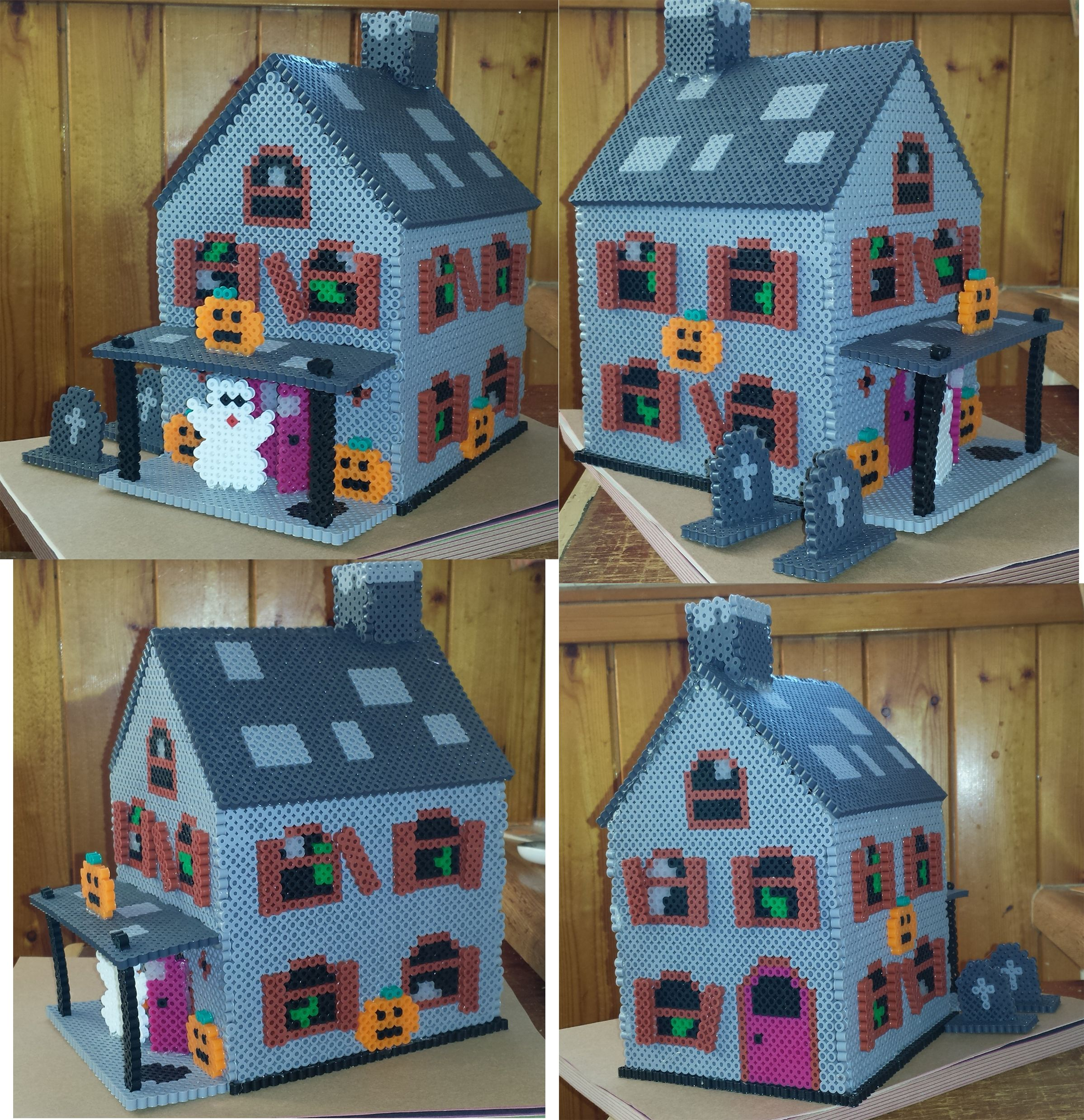 3D Halloween perler bead haunted house (adapted from a plastic ...