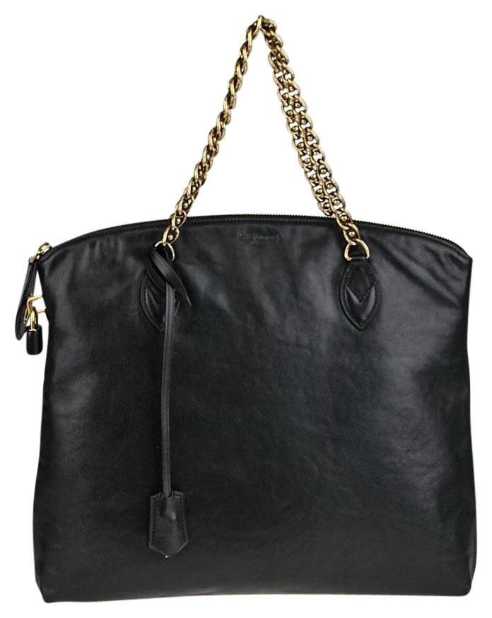 6e4356541ba6 Boudoir Leather Lockit Chain Black Tote Bag