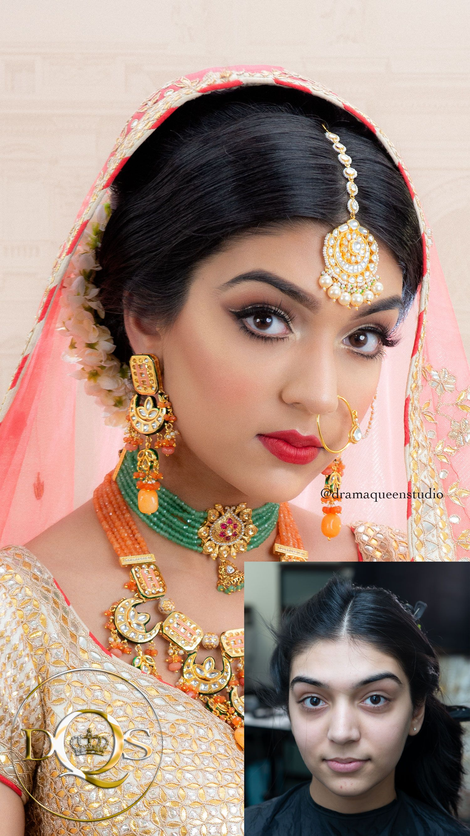 indian bridal hair & makeup before and after done by drama