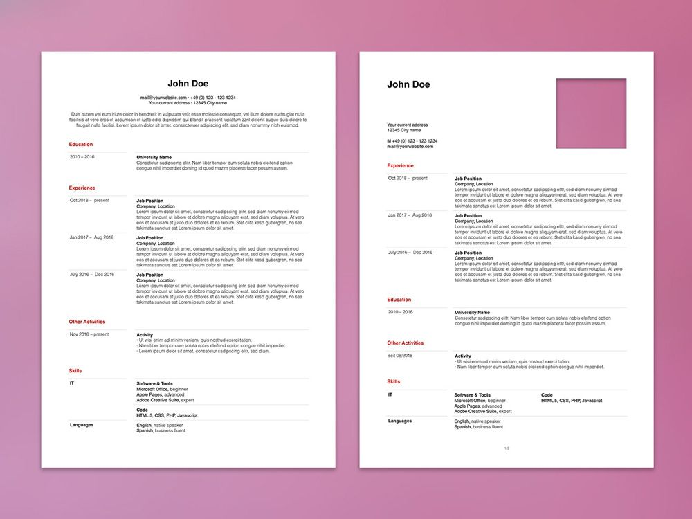 Free apple pages resume template with minimalist design