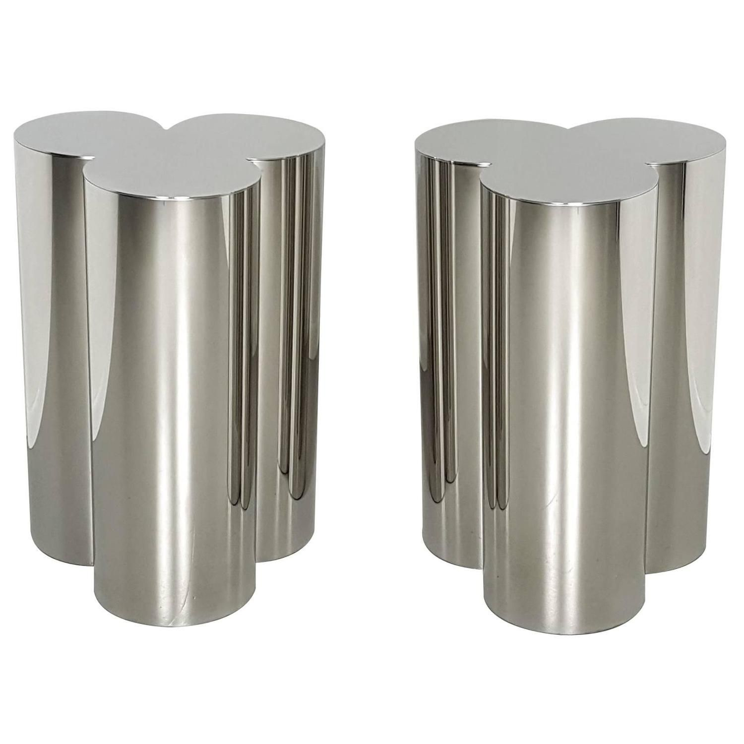 Custom Trefoil Dining Table Pedestal Bases In Mirror Polished