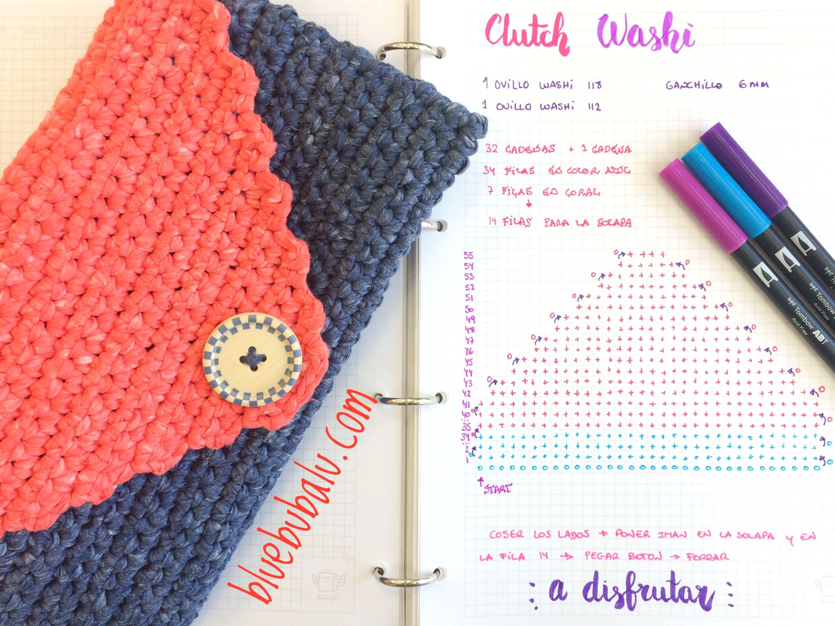 Clutch crochet ganchillo de trapillo ligero washi de Katia Free ...