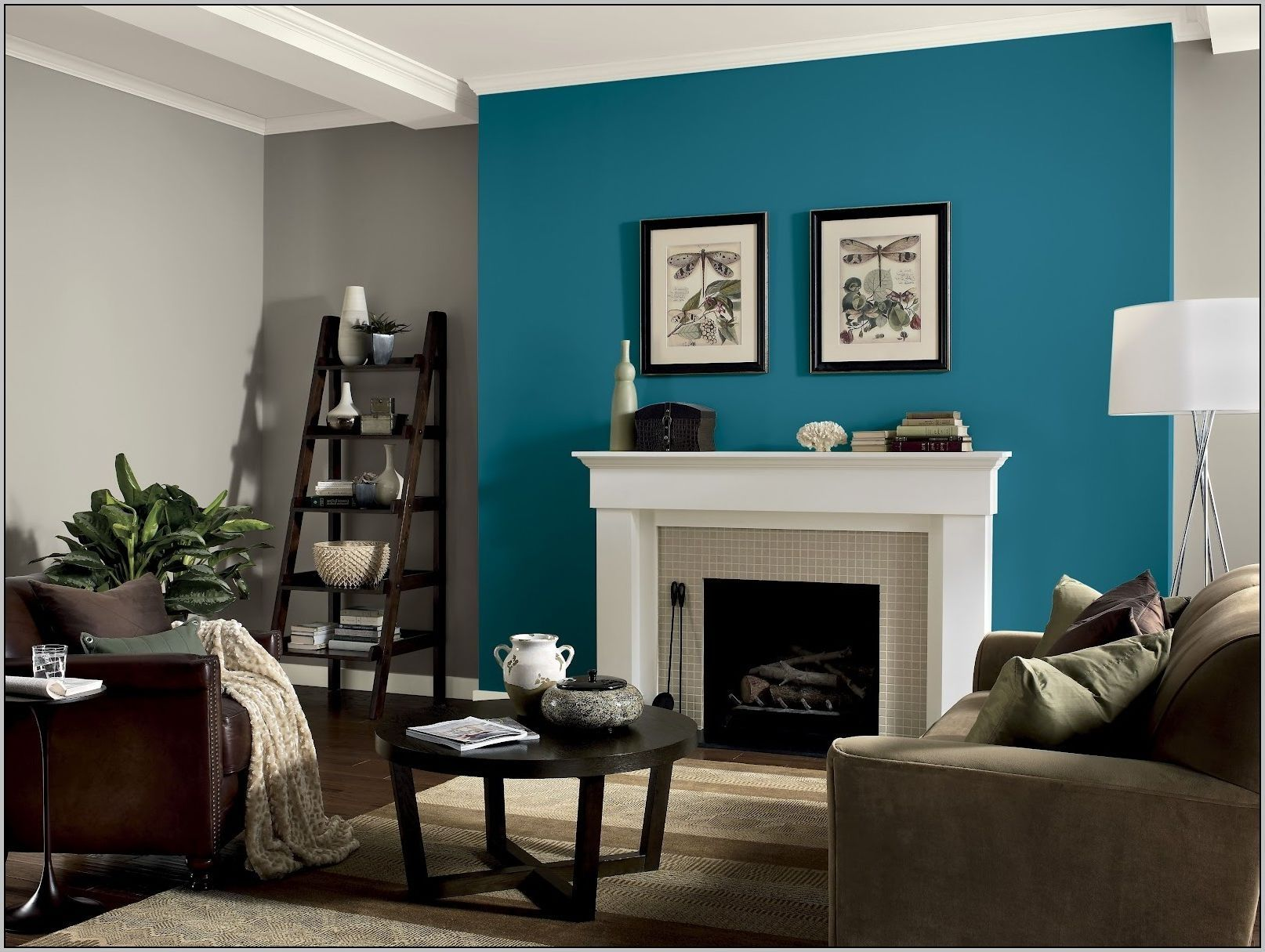 one wall different color bedroom teal living rooms on living room colors for walls id=77761