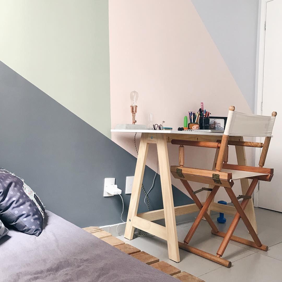 Home Office Do Aptocinquentatonsdecinza Parede Geom Trica  ~ Tok Stok Quarto Casal E Quarto Vintage Colorido