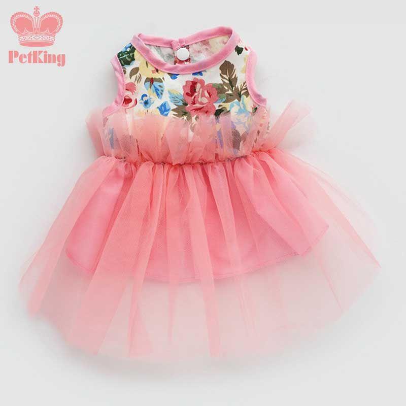 Summer pink Dog puppy luxury dress pet cat dog Tutu skirt Princess ...