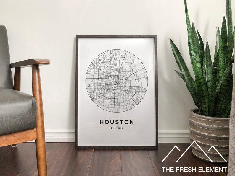 Houston Map Poster Digital Download Map Of Houston Map Art Houston
