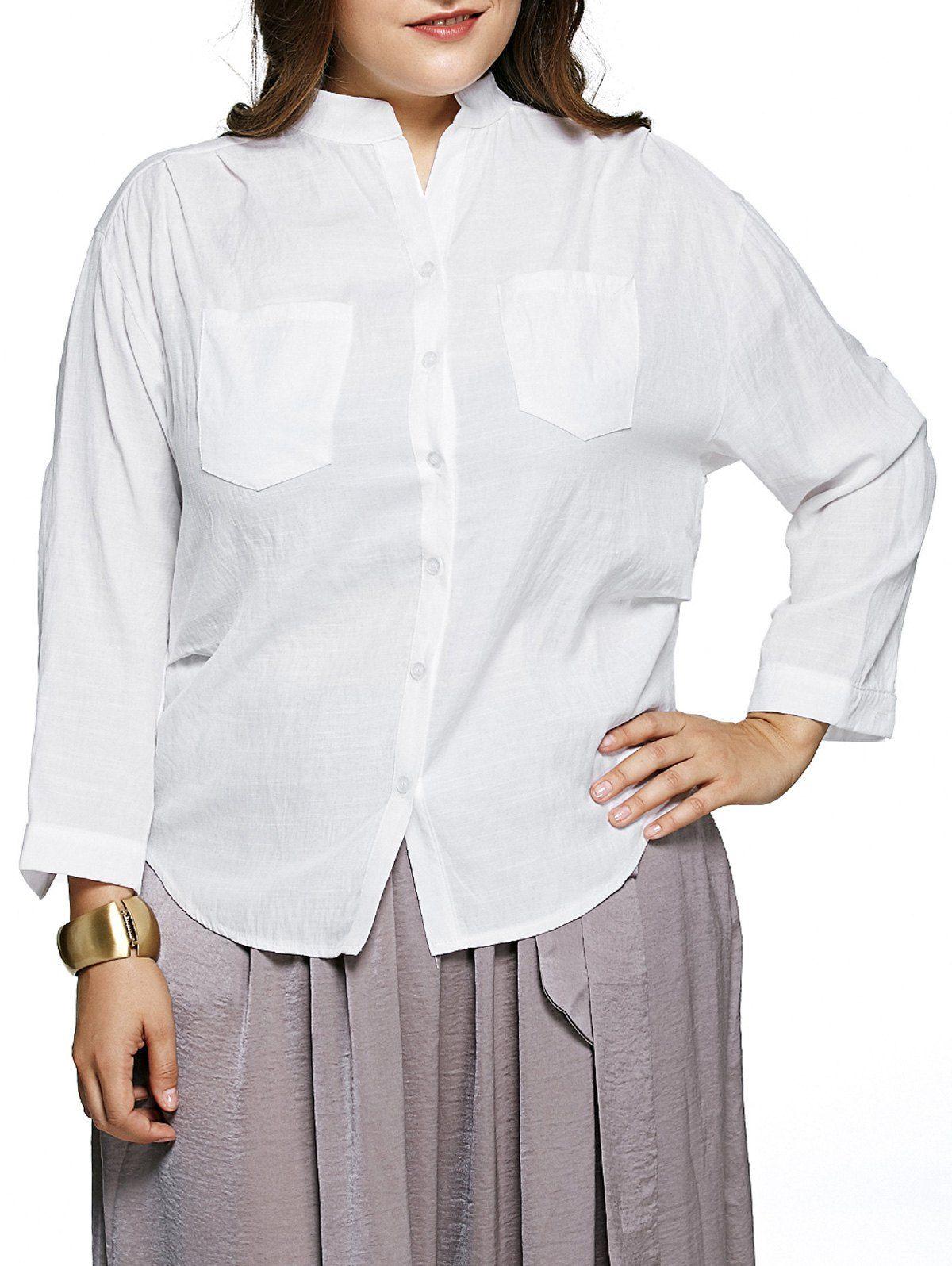 Simple pure white pockets design plus size blouse click clothing