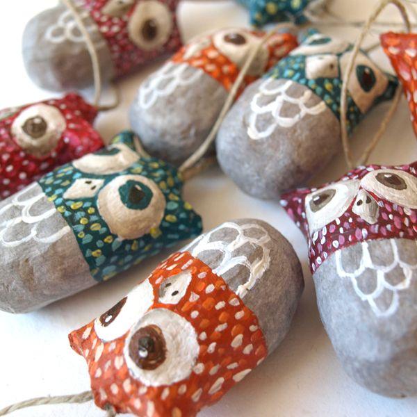 Paper mache fish colorful paper mache owls on behance for Diy paper mache owl