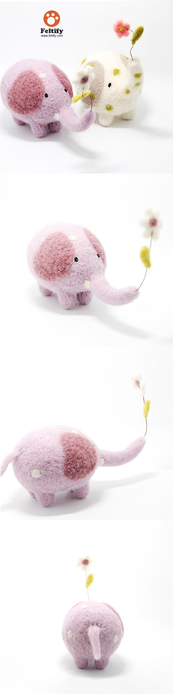 Needle Felted Felting Animals Elephants Flower Cute Craft