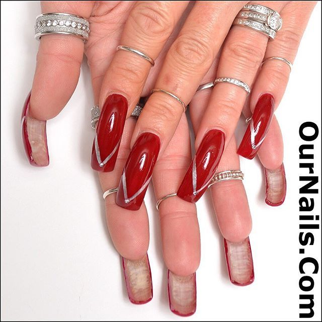 My holiday nails!! They are approaching an inch in length and they ...