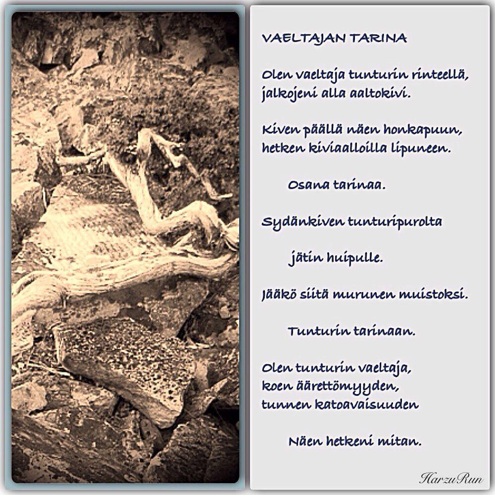 Kuva ja runo kesäkuun 2015 vaellukselta. Harzu Run