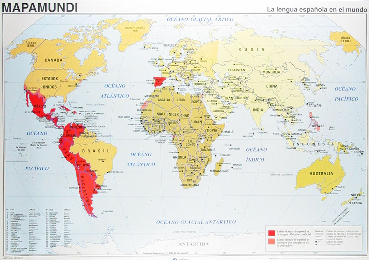 World Map Highlighting Spanish Speaking Countries