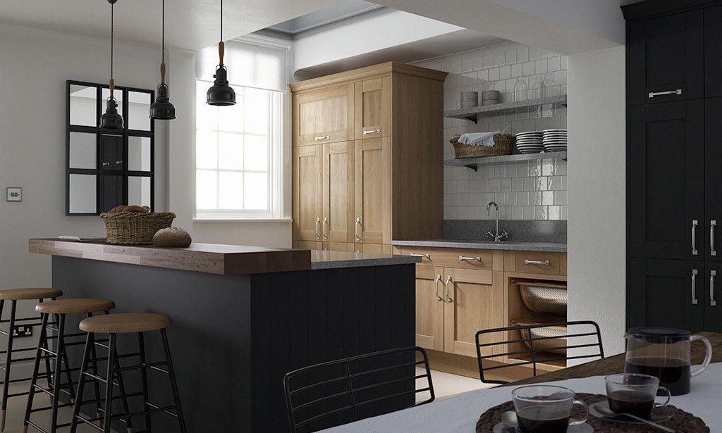 wren kitchens linda barker shaker kitchen in oak and. Black Bedroom Furniture Sets. Home Design Ideas