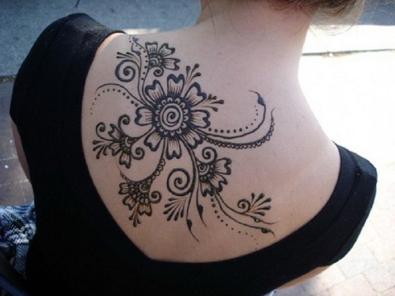 Mehndi Tattoo On Back : Upper back tattoos large henna tattoo design ink