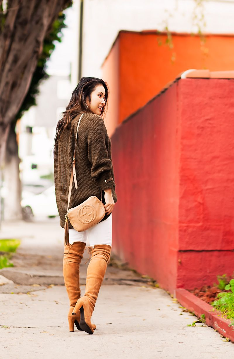 cute & little | petite fashion blog | olive lace-up sweater, white jeans, stuart weitzman over-the-knee highland boots toffee suede, gucci disco | transition outfit