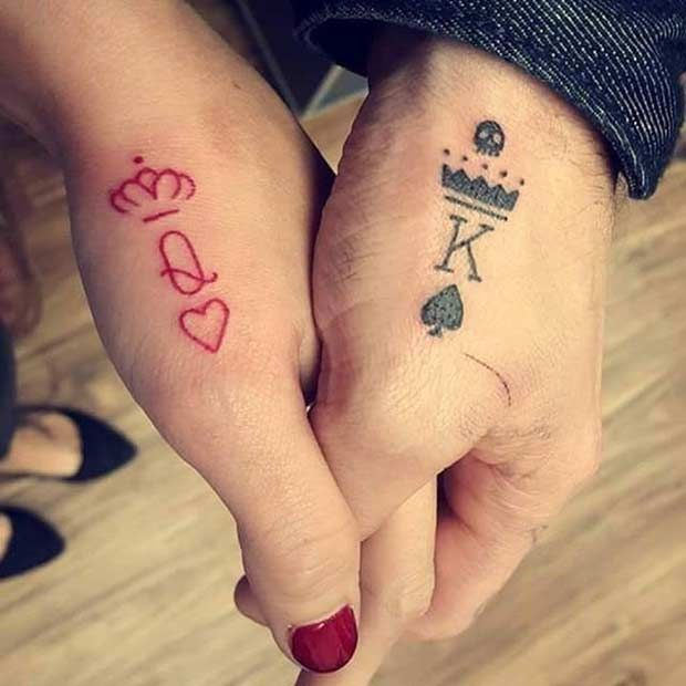 92aac7a7ab4 Couples Tattoos - Red Queen, Black King Hand Tattoos | tattoos ...