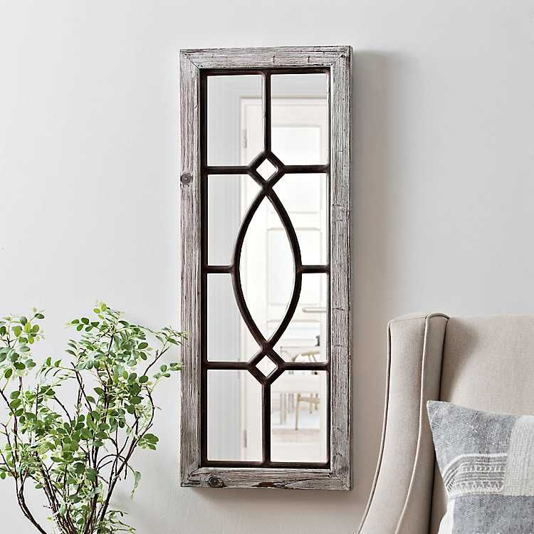 White Distressed Panel Wall Mirror Wall Mirror Decor Living Room Mirror Dining Room Mirror Decor Living Room