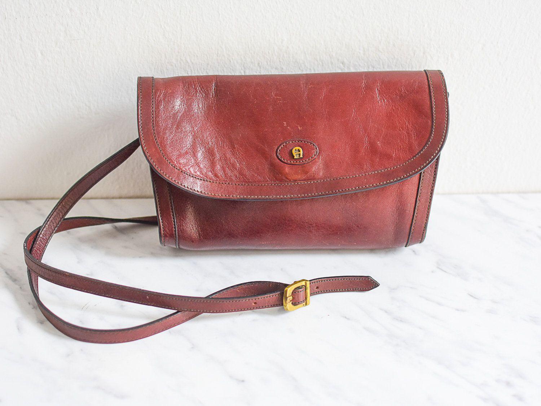 Aigner Ledertasche, Bordeaux Tasche, Vintage Saddle Bag