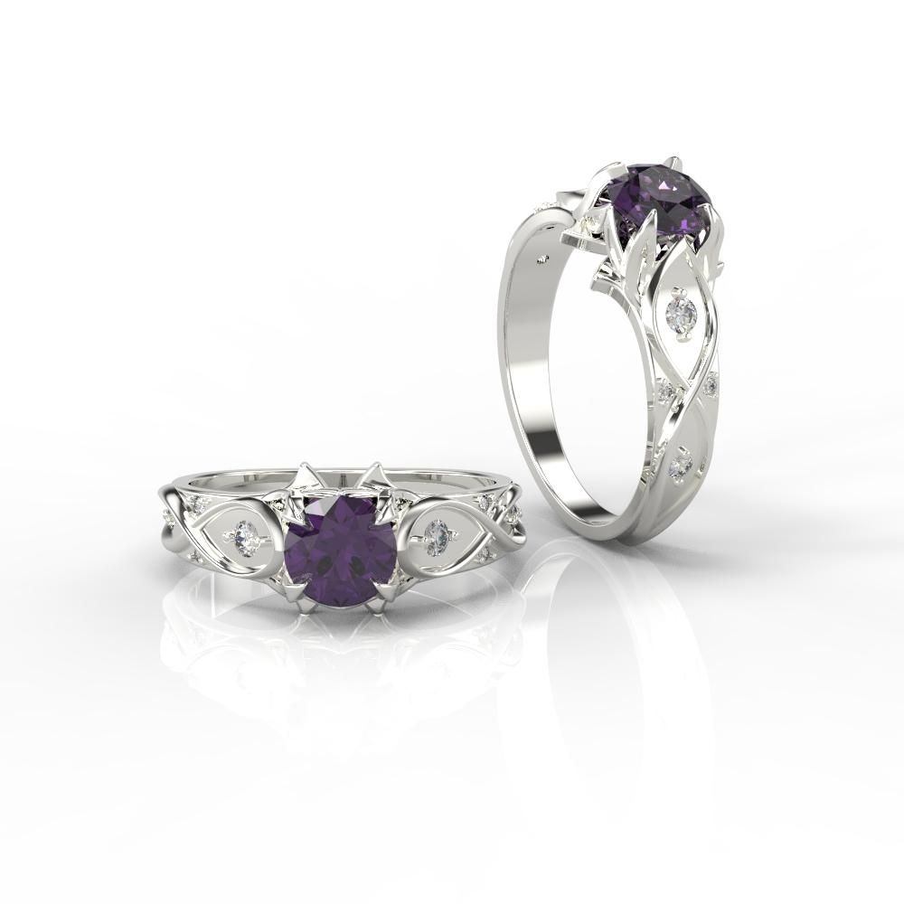 10 carat queen of the north amethyst engagement ring