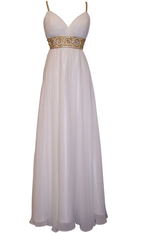 Greek Goddess Chiffon Prom Dress, Starburst Beaded Full Length Gown ...