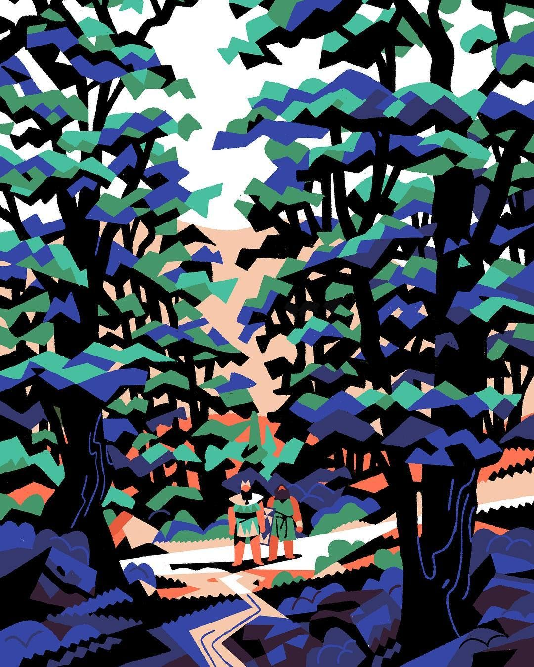 """Gilgamesh and his best friend Enkidu about to enter the dark cedar forest. Another illustration from """"Gilgamesh et le sec…   Illustration, Abstract, World mythology"""