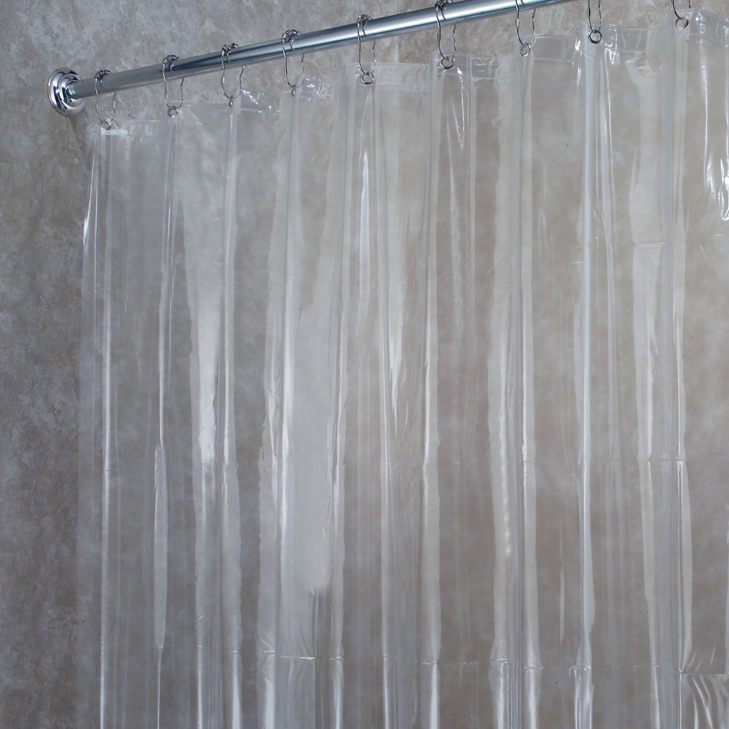 Premium weight jumbo long vinyl shower curtain liner with metal