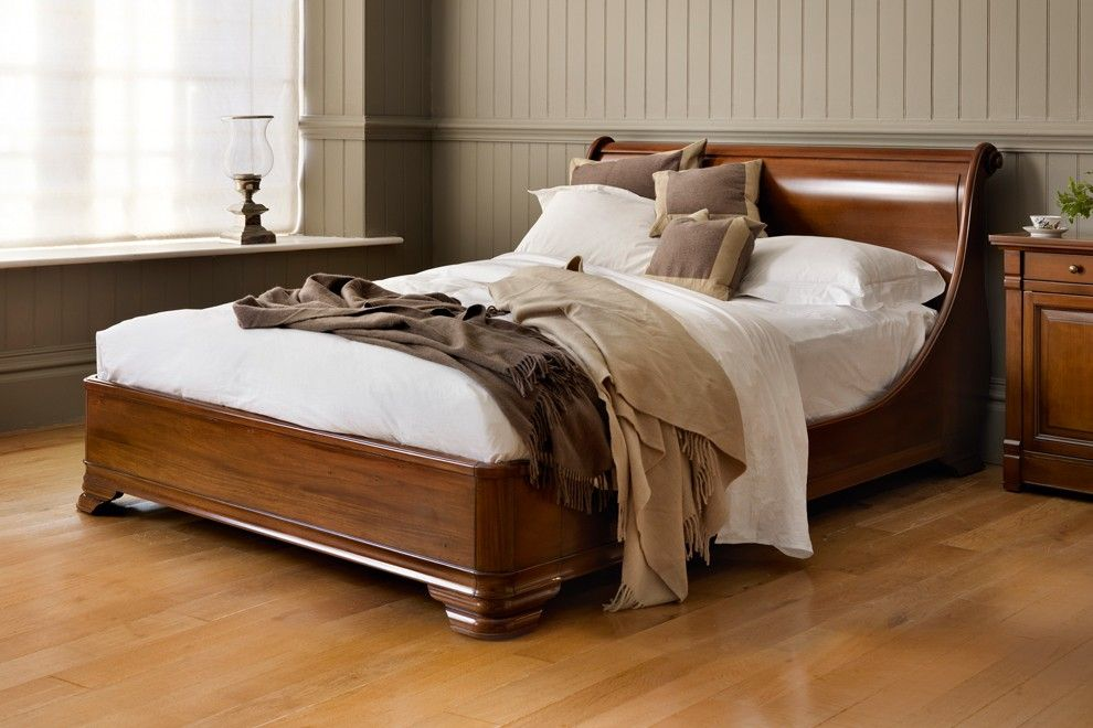 Manoir Socle Bed Luxury Bedroom Sets Wooden Sleigh Bed Bed