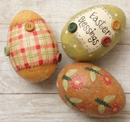 Easter Eggs Primitive Country Bunny Blessings Plaid