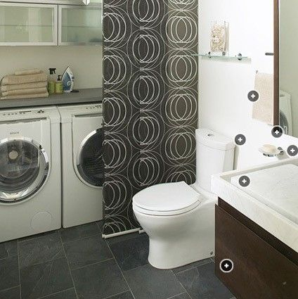 install ikea track panels to hide washer/dryer and create