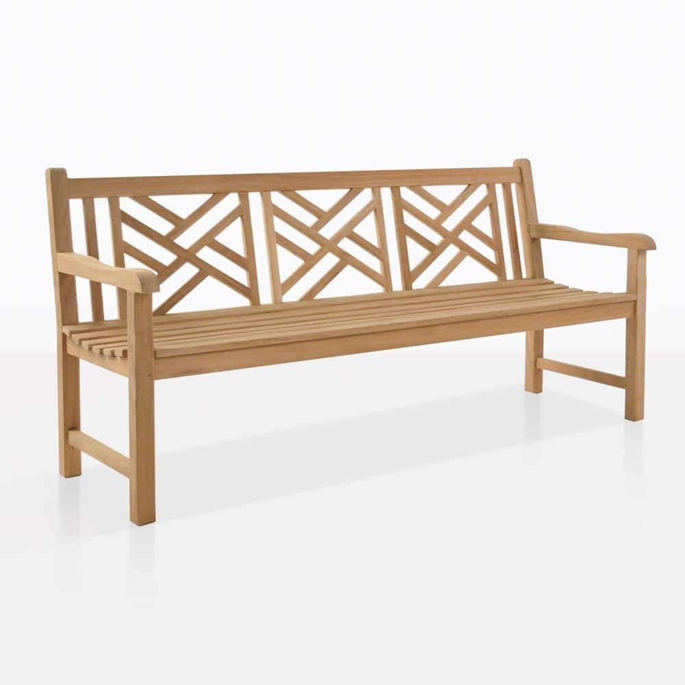 Garden Wooden Batavia Bench 3 Seats Patio Armrest Cathedra Backrest Slats Chairs Teak Bench Teak Bench Outdoor Teak Outdoor