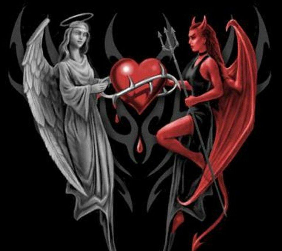 angel vs devil - 900×900