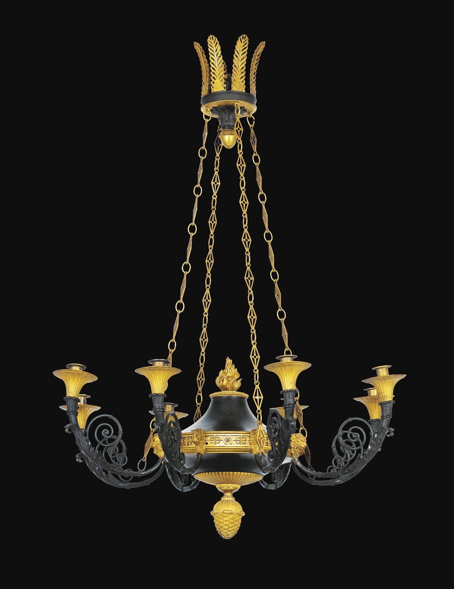 Lustre en bronze patiné et doré, travail russe vers 1800 A PATINATED GILT-BRONZE EIGHT-LIGHTS CHANDELIER, RUSSIAN CIRCA 1800