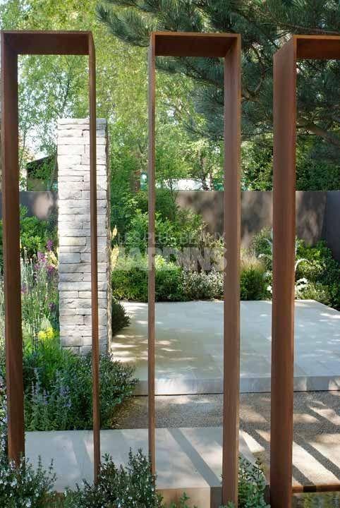 Panneau En Acier Corten Perspective Sur Le Jardin Paysagiste