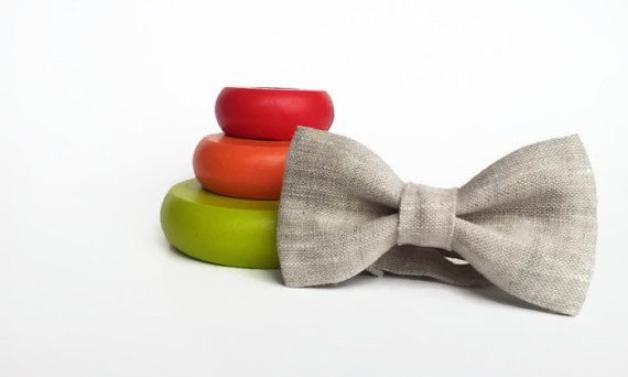 Linen bow tie-baby bow tie- boy bow tie- wedding ring bearear-oatmeal linen-newborn bowtie