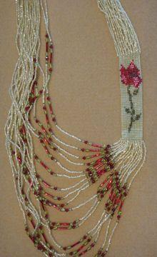 Rose Side Loom Necklace - Item Number 17900  bead-patterns.com