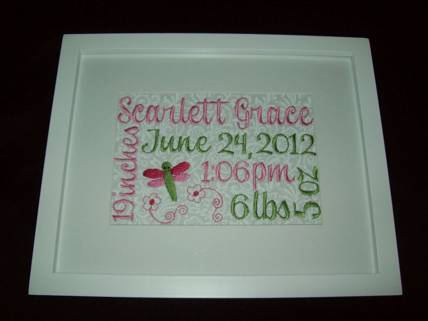Custom Framed Embroidered Birth Announcement Via Etsy