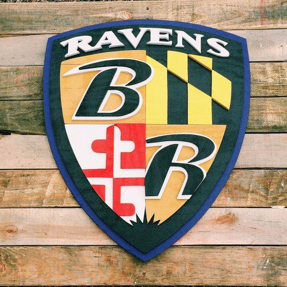 Baltimore Ravens Home Decor: Handmade Oversized Ravens Shield, Wood, Baltimore, 3D