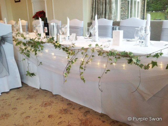 Bridal Party Table Runner lavender and baby\u0027s breath instead. & Found on Google from purpleswanhire.co.uk | Wedding linens ...