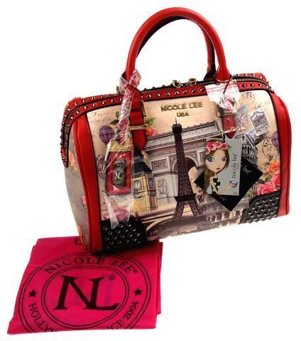 7d43d18ad084 Nicole Lee Europe Print Handbag Eiffel Tower Paris Rome EUR11443 ...