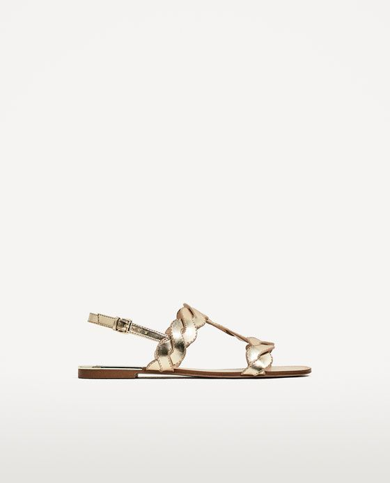 Image 2 Of Flat Gold Braided Sandals From Zara Braided