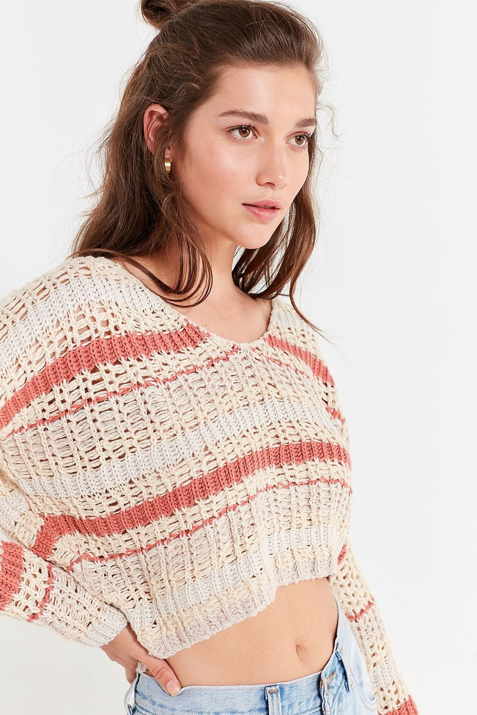 Uo Sasha Striped Cropped Sweater By Urban Outfitters Products