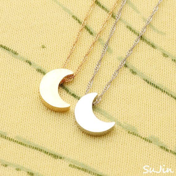 10SALE Shiny Crescent Moon Pendant Plated by SujinSimpleChic, $15.95