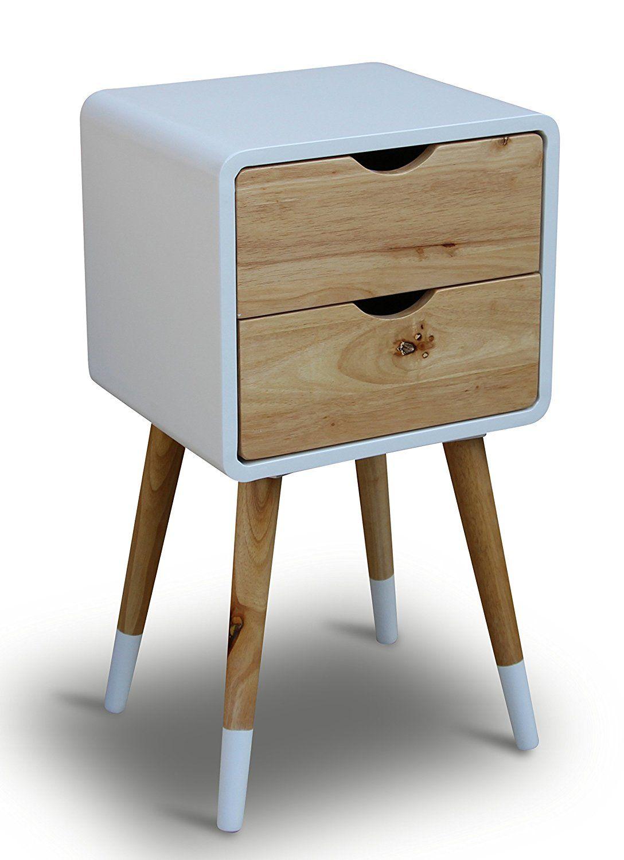 Teléfono mesa madera blanco 35 x 35 x 70 cm de noche (mesa consola ...