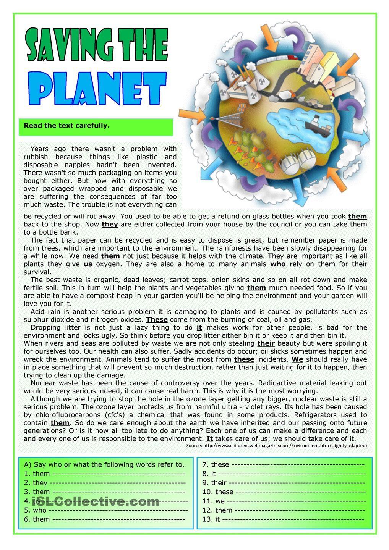Saving the planet | Worksheets | Pinterest | Englisch ...
