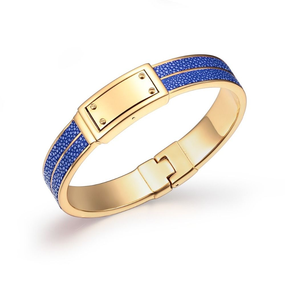 Jaj unique design stainless steel bangles in gold tone blue stingray