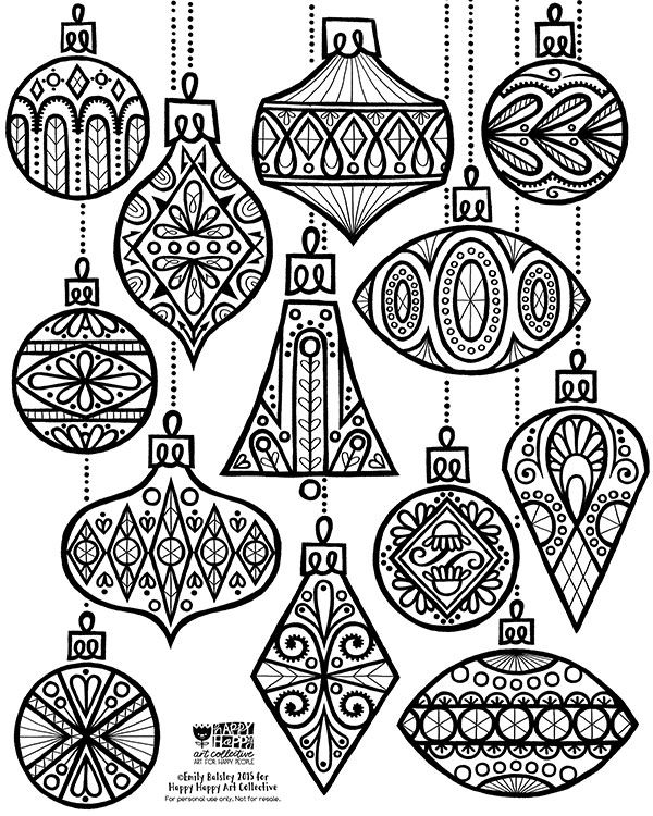 24 DAYS OF FREEBIES :: DAY 2 :: ORNAMENT COLORING SHEET | Happy art ...