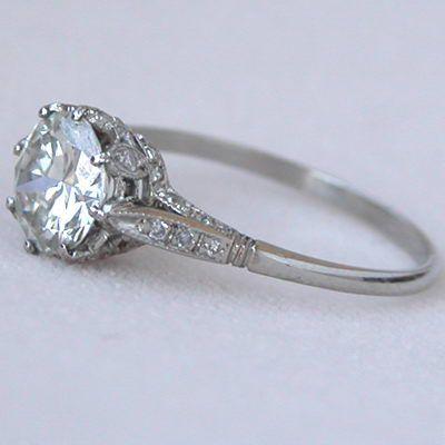 Platinum 1 38ct Diamond Edwardian Style Antique Engagement Ring